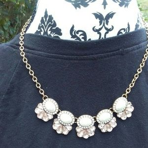 Antique gold pearl statement necklace